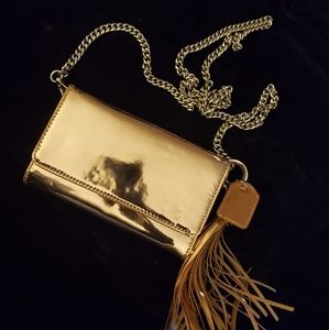 GOLD 7X9 EVENING CROSSBODY PURSE WITH CHAIN STRAP